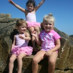 Emily, Elle & Maggie on the King's Chair at Blue Fish Cove